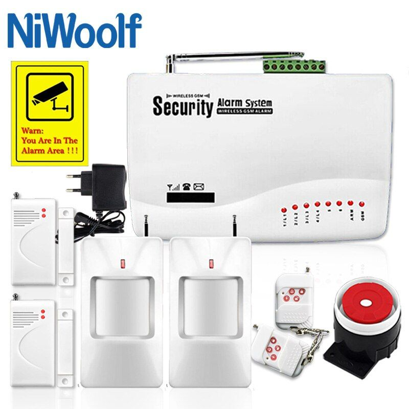 GSM10A Wireless/Wired GSM Alarm System Phone SIM GSM Home Burglar Security , Include Door open detector, Motion detector