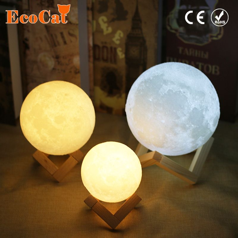 Dropshipping Moon lamp LED light 20CM 18CM 15CM USB Moonlight 2 Colors Changeable Touch Switch Night Light For Creative Gift