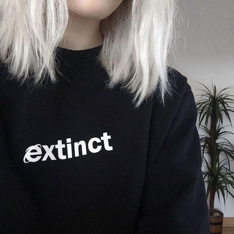 Extinct Sweatshirt 90s Internet Explorer Vaporwave Tumblr Inspired Sweatshirts Pale Pastel Grunge Aesthetic Black <font><b>Grid</b></font>