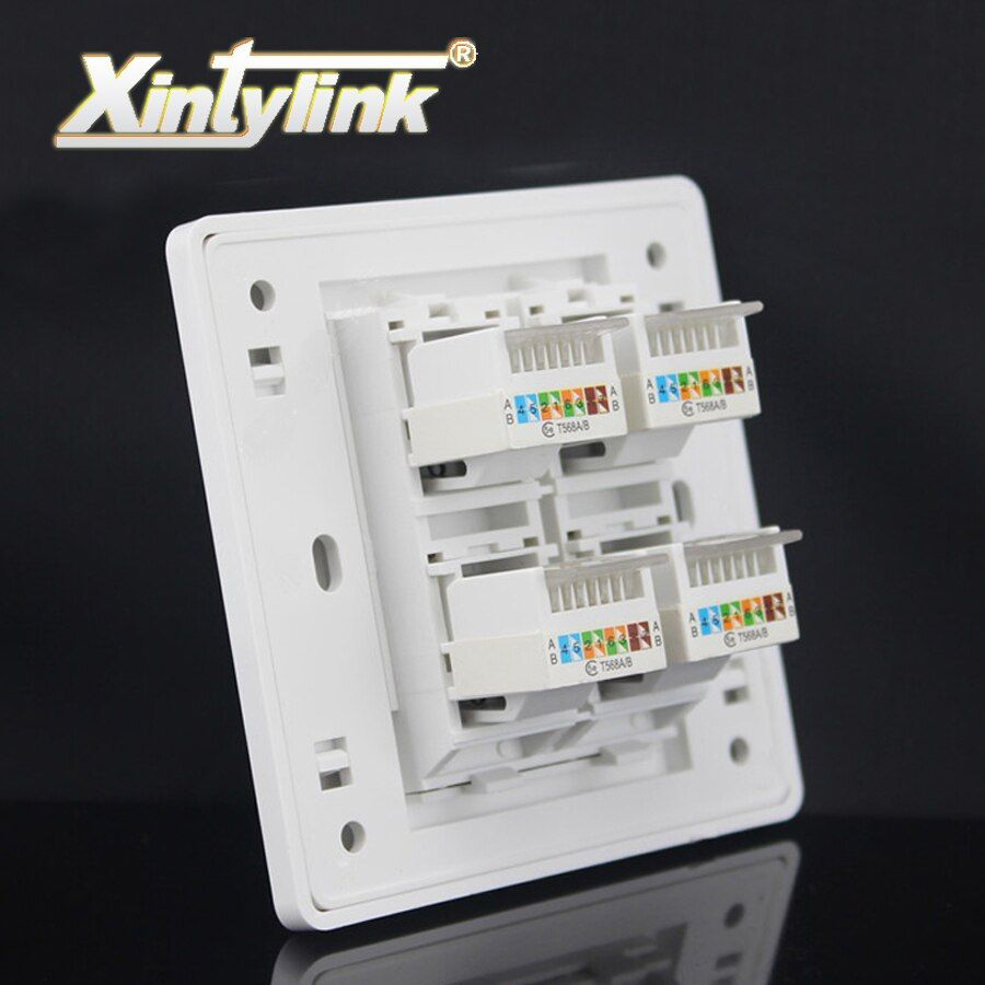 xintylink rj45 Socket jack modular 4 Port cat5e cat6 Keystone white pc Wall Face plate Faceplate toolless wall socket panel 86mm
