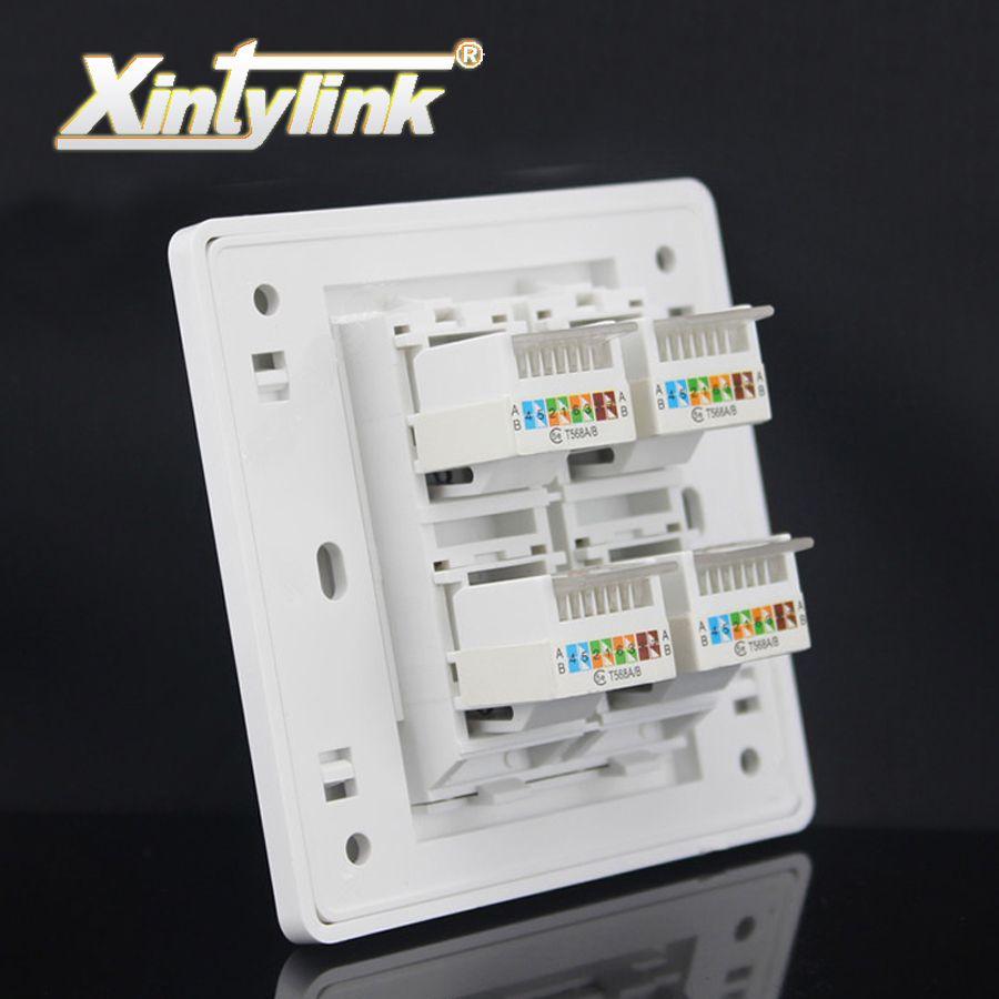 Xintylink rj45 Prise jack modulaire 4 Port cat5e cat6 Keystone blanc pc Mur Visage plaque Façade sans outil prise murale panneau 86mm