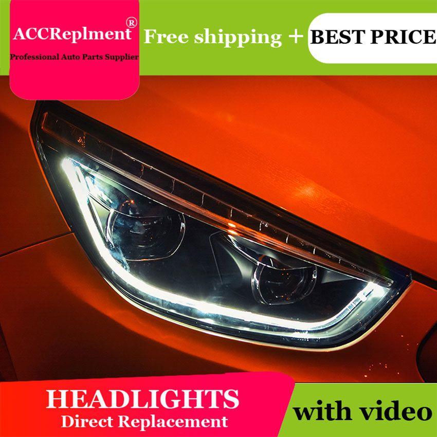 Auto styling Für Hyundai IX35 scheinwerfer U engel augen 10-15 Für Hyundai IX35 LED licht bar Q5 bi xenon objektiv Led-lampe projektor