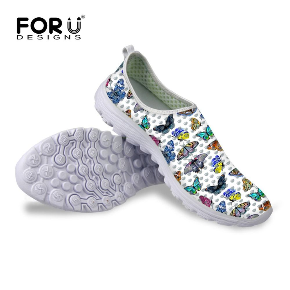 FORUDESIGNS Casual Mesh Shoes Women Animal Butterfly Prints Summer Lightweight Leisure Shoes for Ladies Flats Leisure Shoe Girls