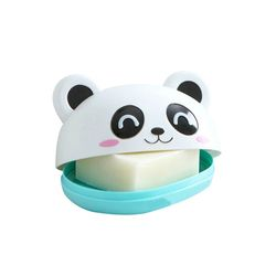 Mignon Panda Savon Box Holder Avec Couvercle Stockage De Salle De Bains Étagères Racks Étage Type Éponge de cuisine Vidange Titulaire Accessoires Fournitures