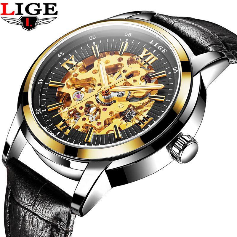 LIGE Hollow Skeleton Automatic Mechanical Mens Watch Man Classic Leather Business Men WristWatches Male Sport Clock Reloj Hombre