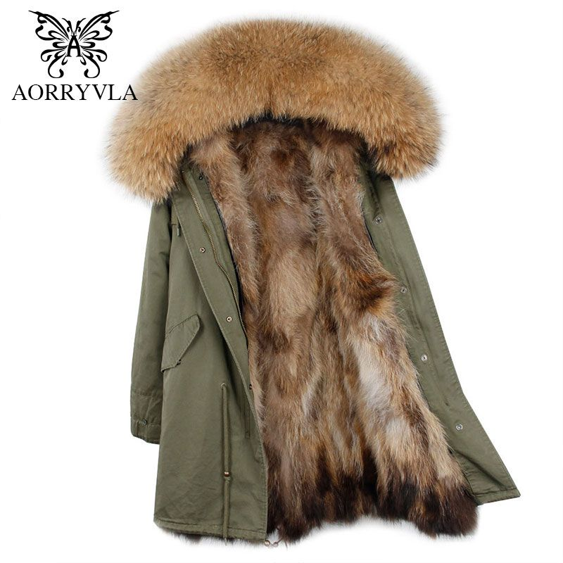 AORRYVLA 2018 New Winter Women Fur Parka Long Natural Raccoon Fur Hooded Coat Real Raccoon Fur Liner Thick Warm Winter Jacket
