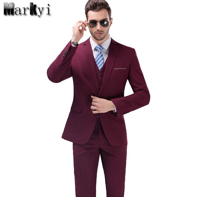 MarKyi 2017 Célèbre Marque Hommes Costumes De Mariage Marié grande taille 5XL 3 Pièces (Veste + Gilet + Pantalon) Coupe Slim décontracté Smoking Costume Masculin