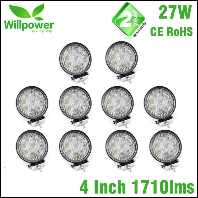 10pcs 12V 24V 27W LED Car Work Light Bar Motorcycle Lamps Spot LED Light Bar LED Car Foglight for Off Road For Jeep VW Toyota