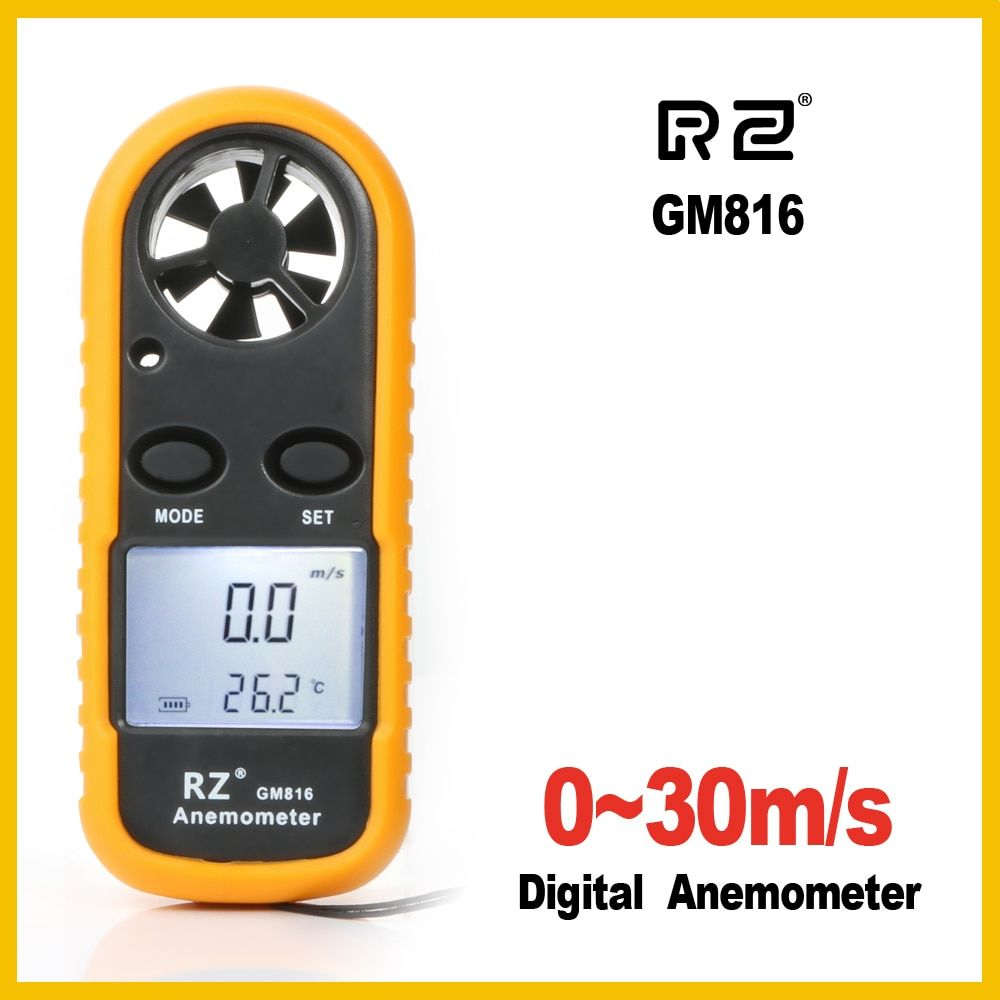 RZ Portable Anemometer Anemometro Thermometer GM816 Wind Speed Gauge Meter Windmeter 30m/s LCD Digital Hand-held Measure <font><b>tool</b></font>