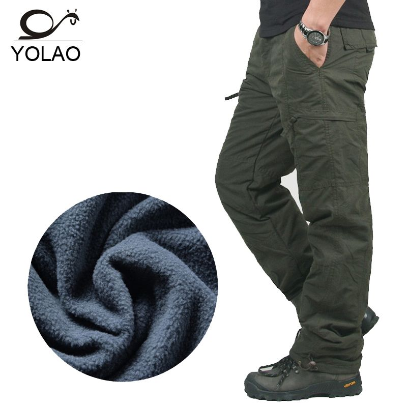 YOLAO brand Winter Double Layer Men's Cargo Pants Warm Baggy Pants Cotton Trousers For Men Male Military Camouflage Tactical B02