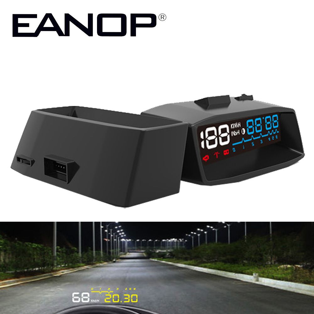 EANOP HUD Head Up Display Car hud Windshield Projector Head OBD II EOBD Alarm System Vehicle-Mounted Speed Monitor