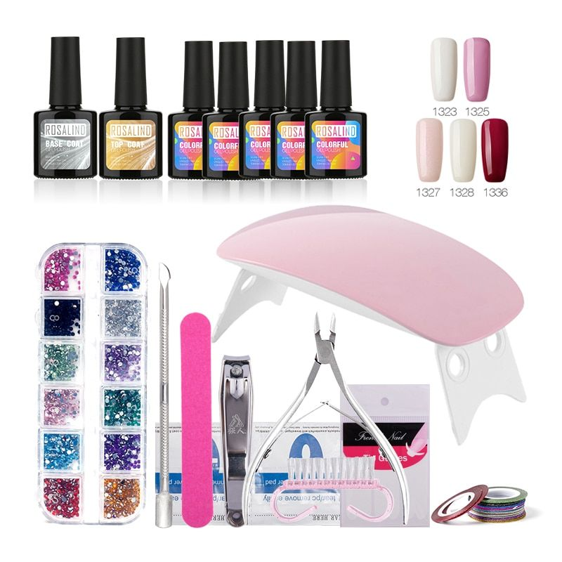 ROSALIND Nail Gel Soak-off Gel Polish Top & Base Coat Gel Nails Polish Kit Mini Lamp 5 colors Art <font><b>Tools</b></font> Kits Sets Manicure