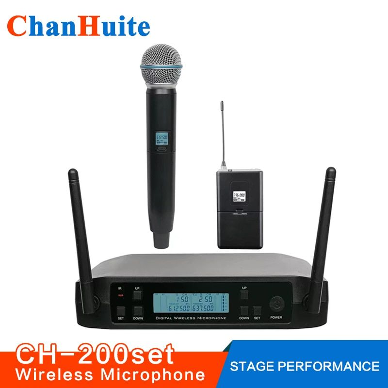 UHF Lavalier Handheld Wireless Microphone System Vocal Microfone Professional Cordless Headset Mic for Stage Show Church School