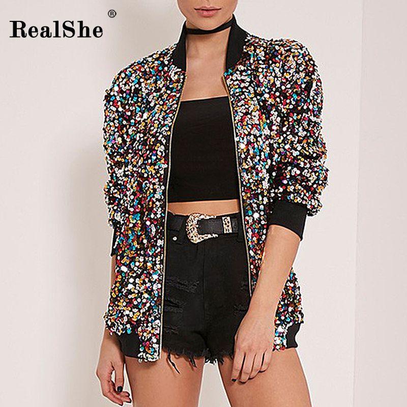 RealShe 2018 Autumn Woman Coat Women Long Sleeve Zipper Bomber Jacket Women Sequins Basic Coats Casual Windbreaker <font><b>Outwear</b></font>