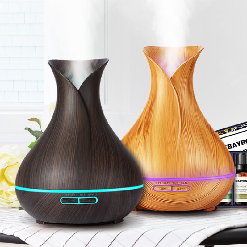 400ml Air Humidifier Essential Oil Diffuser wood grain Aromatherapy diffusers Aroma purifier MistMaker led light for Home Office