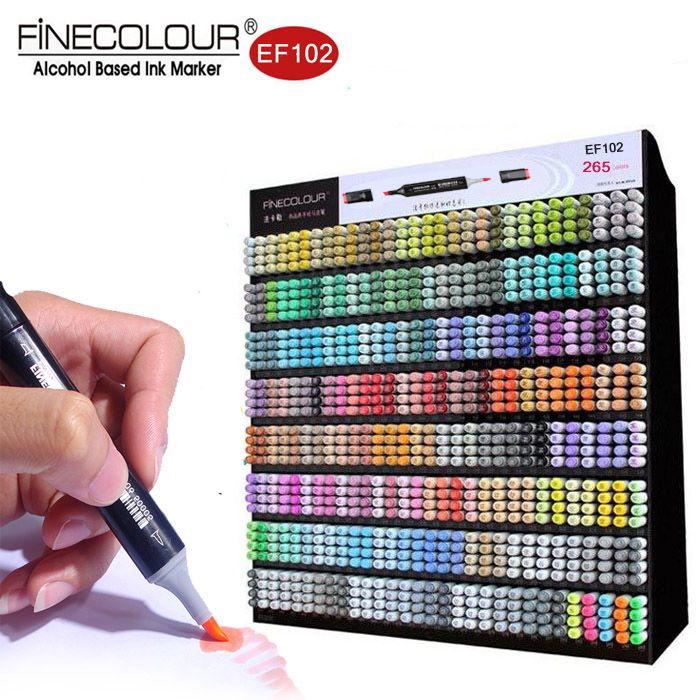 Finecolour 265 Farben Dual Brush Marker EF102 Gesetzte Graffiti Design Kalligraphie Stifte Alkohol Weichem Filz Kunstmarkierungen Zeichnung Comic