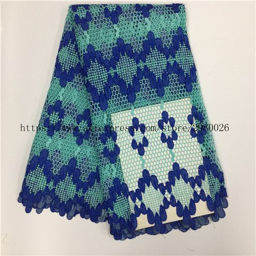 Free Shipping! French Net Lace Fabric 2017 Latest African Lace Fabric For Nigerian Wedding Dress Sewing Blue Color Tulle Lace Fa