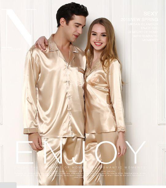 2019 Luxe homme En Soie D'été décontracté Ensembles De Pyjama Couple Femmes Vêtements de Nuit pyjama Amoureux de Nuit Maison Pijama Loungewear