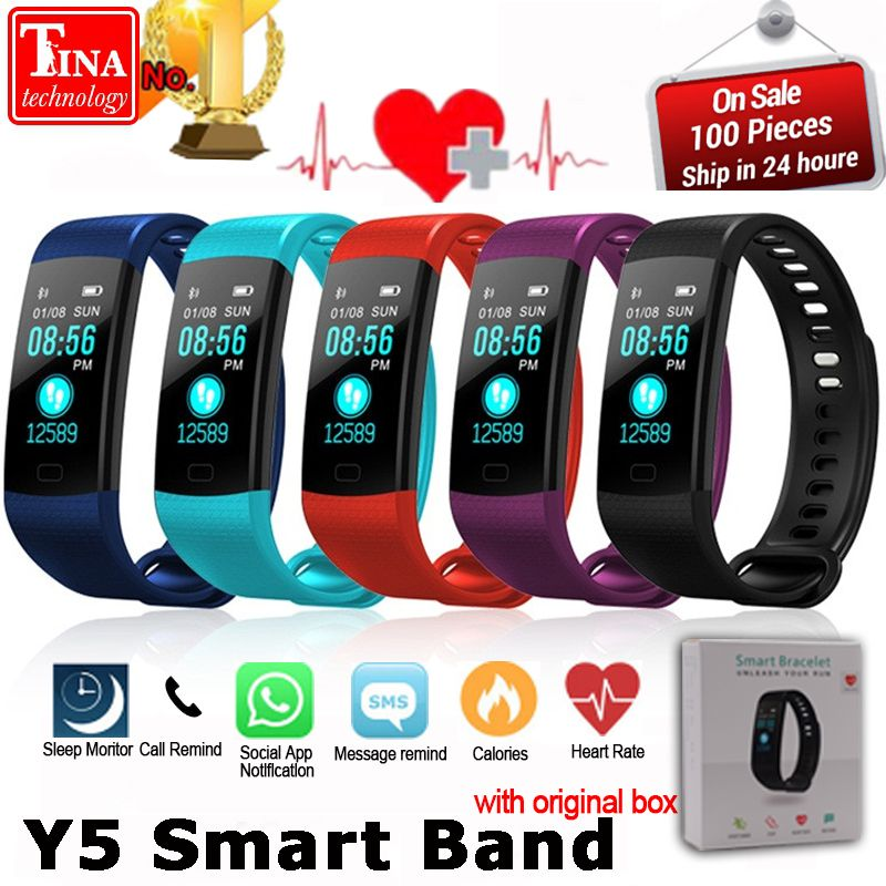 Y5 Smart Band Watch Color Screen Wristband <font><b>Heart</b></font> Rate Activity Fitness tracker Smart Electronics Bracelet VS Xiaomi Miband 2