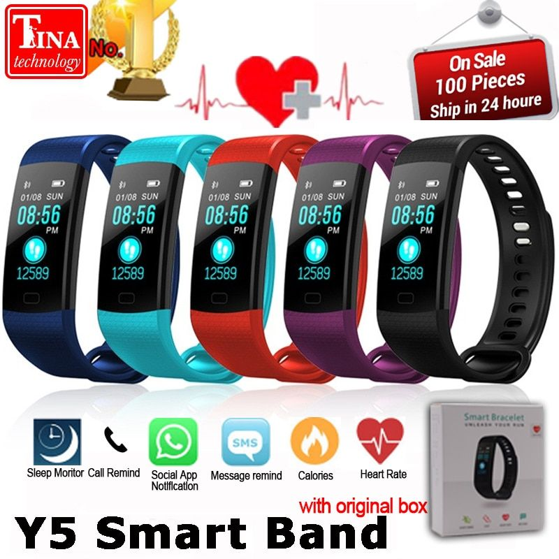 Y5 Smart Band Watch <font><b>Color</b></font> Screen Wristband Heart Rate Activity Fitness tracker Smart Electronics Bracelet VS Xiaomi Miband 2