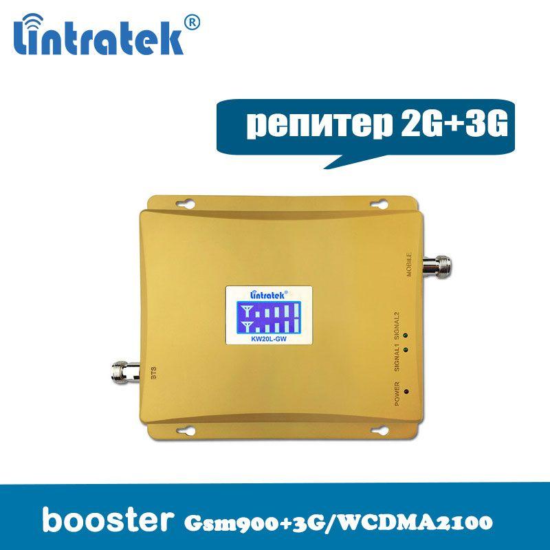 Amplificateur de Signal de téléphone portable Lintratek Booster 3G 2100 MHz GSM 900 Mhz double bande amplificateur de répéteur de Signal GSM 900 2100 UMTS @ 6.2