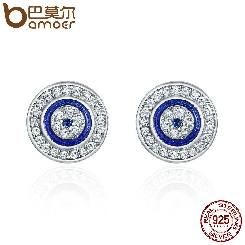 BAMOER Hot Sale Authentic 925 Sterling Silver Blue Eye Round Stud Earrings for Women Fashion Sterling Silver Jewelry SCE148