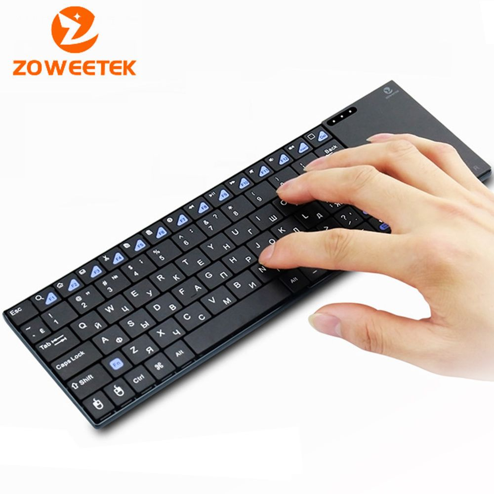 Genuine Zoweetek i12plus Russian Spanish French 2.4G RF wireless keyboard with touchpad mouse for PC Tablet Android TV Box IPTV
