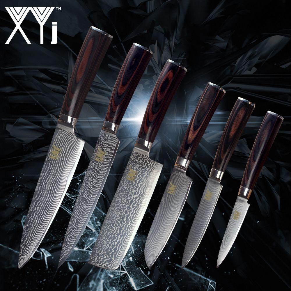 XYj Neue Ankunft 2018 Damaskus Messer Set VG10 Damaskus Stahl Farbe Holz Griff Messer Damaskus Muster Küche Zubehör