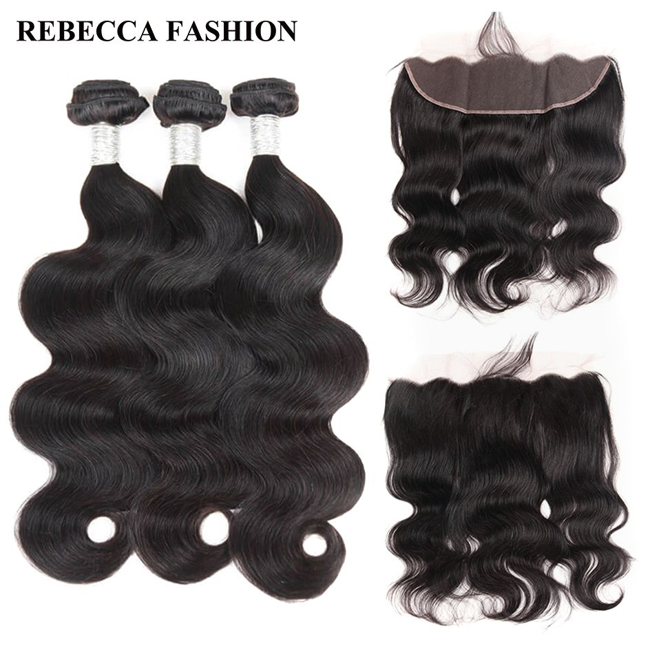 Rebecca Brazilian Body Wave 3 Bundles Human Hair Bundles With Frontal Closure 13x4 Lace Frontal With Bundles Salon Remy Hair