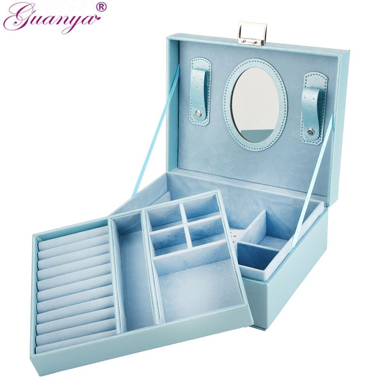 Guanya New 23*9*18.5cm Double layer Portable Jewelry Case Leather Jewelry Box Organizer Princess Dressing <font><b>Birthday</b></font> Gift /Casket