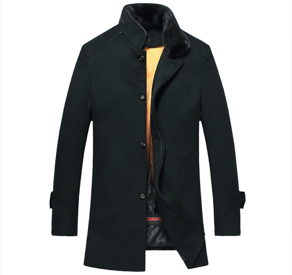 Mens Winter Mink Fur Lined Coat Luxury Genuine Fur Coat For Men Black Mink Fur Lined Long Coat for Men