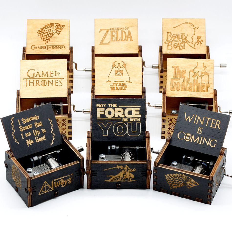 Wholesale Antique Carved Wooden Star Wars game of thrones Music Box Theme Caixa De Musica A Birthday Present juego de tronos