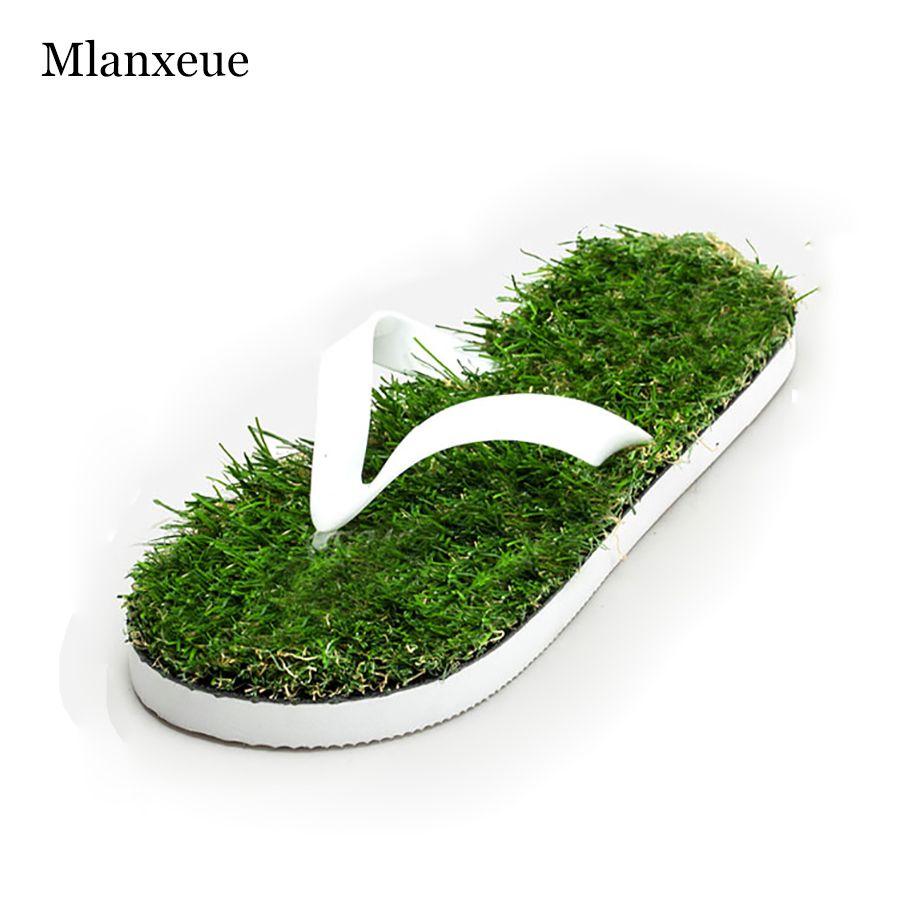2016 nuevos amantes imitación hierba hombres Flip Flops para hombres verano playa Flip Flops plana zapato fuera Sandalias zapatilla Sandalias Mujer