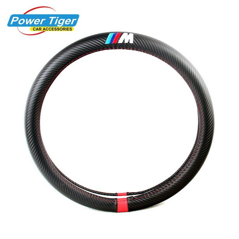 38CM Car Styling Steering Wheel Cover Interior Decor Carbon Fiber Sport Cover For BMW X1 X3 X5 X6 E36 E39 E46 E30 E60 E90 E92