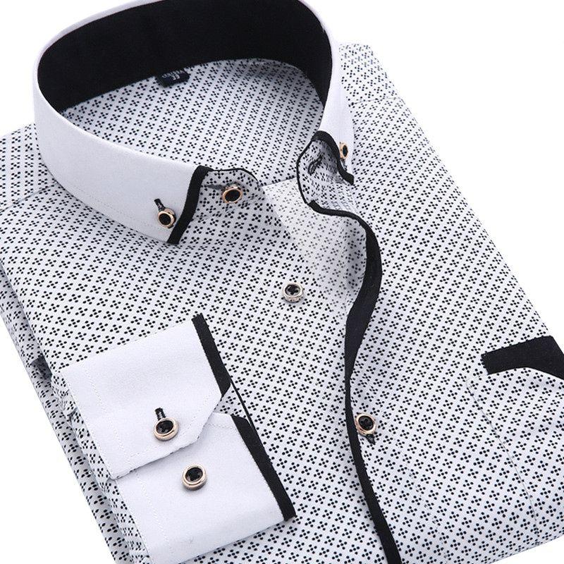 2017 Для мужчин модные Повседневное Длинные рукава рубашка с принтом Slim Fit мужской социальной платье в деловом стиле брендовые Для мужчин Кос...