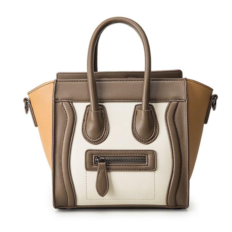 Bolsos <font><b>Mujer</b></font> 2016 Trapeze Smiley Tote Bag Luxury Brand Pu Leather Women Handbag Shoulder Bag Famous Designer Crossbody Bags Sac