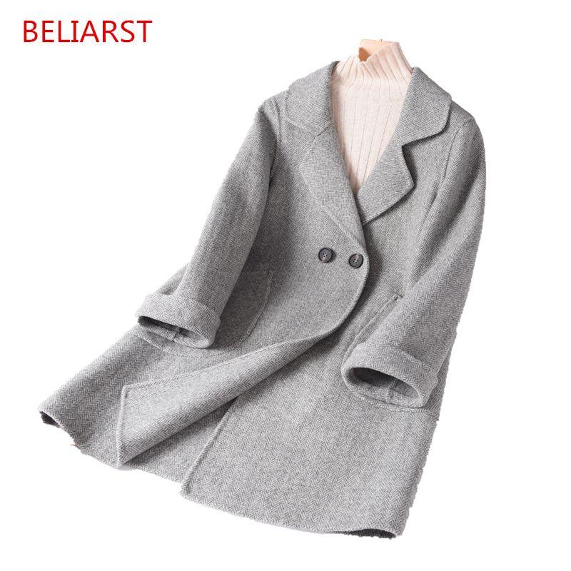 BELIARST 2018 Neue mid-länge revers kaschmir mantel woolen mantel mode frauen jacke Fischgräten raster Vintage damen mantel
