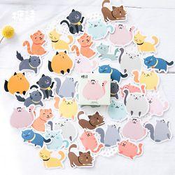 40 Pcs/set Permen Fat Cat Memo Pad Buku Harian Stiker Paket Diposting Kawaii Planner Scrapbooking Alat Tulis Escolar Perlengkapan Sekolah