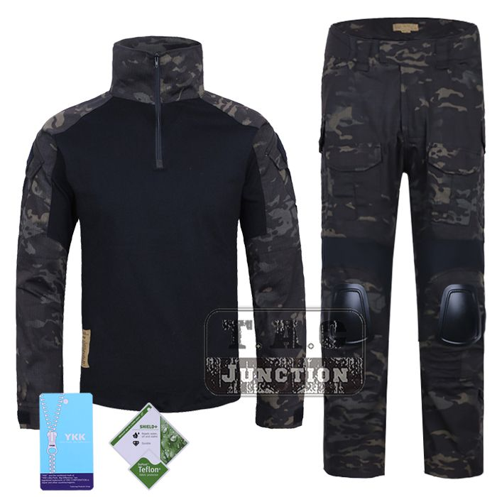 Emerson G2 Combat Shirt & Pants Tops+Trousers w/ Elbow & Knee Pads Set Tactical Military Airsoft EmersonGear GEN 2 BDU Uniform