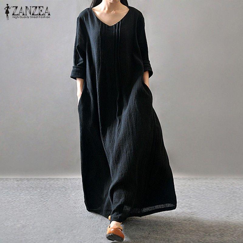 Women Elegant Dress 2017 ZANZEA Autumn V Neck Long Sleeve Floor-length Casual Loose Solid Maxi Long Dress Vestidos <font><b>Plus</b></font> Size