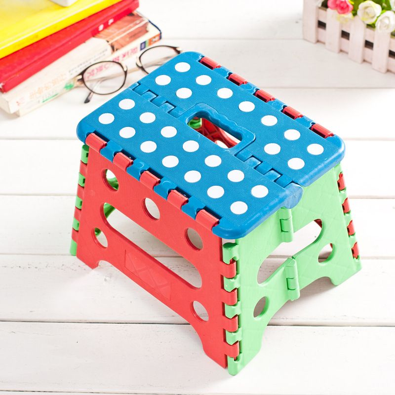 RongYi Random Portable Plastic Folding Stool Spotted Ottoman For Outdoors Sit Study Dinner Supper Children Stool Child Sitting