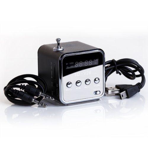 CES-TD-V26 Mini Altavoz Portátil con Digital y Micro SD/TF/USB/FM Negro