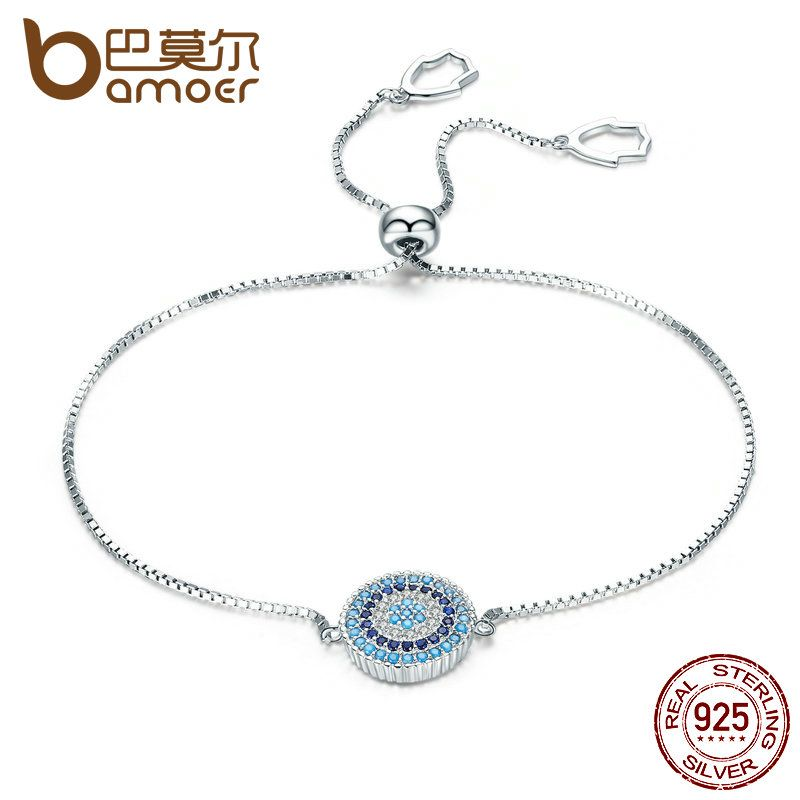 BAMOER 925 Sterling Silver Luxury Round Blue Lucky Eyes Power Bracelet Pave CZ Adjustable Link Chain Bracelets Jewelry SCB005