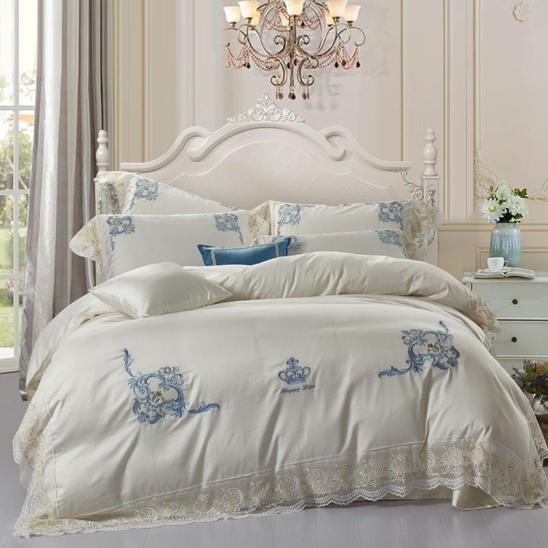 Luxury Embroidery crown 100% Egyptian Cotton Bedding set King Queen size bed sheet set lace Duvet cover couvre lit de luxe