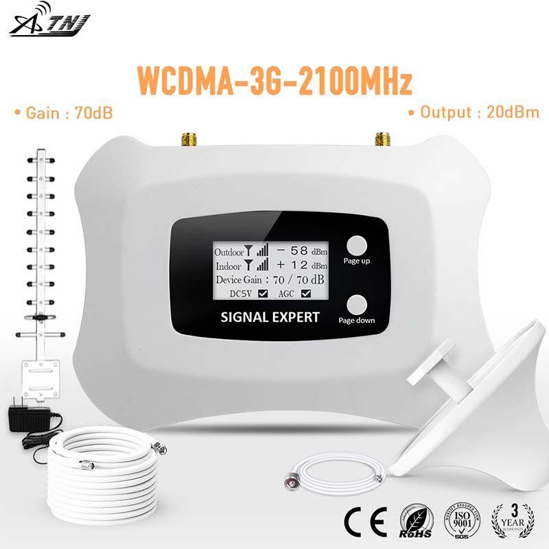 Spécialement pour la russie 3G 2100 mhz répéteur de signal mobile intelligent avec Yagi + kit d'antenne de plafond amplificateur de signal cellulaire 3g