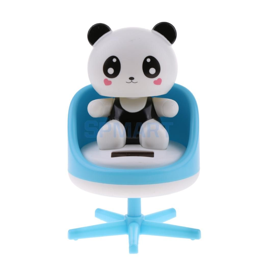Solar Powered Dancing Nodding Animal Panda on chair Model Pet Toy Car Home Decoration Ornaments Gift Blue