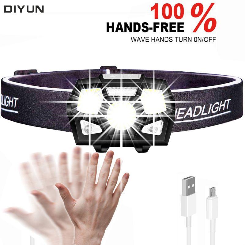 Ultra Helle Motion Sensor LED Scheinwerfer 6000 Lumen Harte Hut Kopf Lampe Leistungsstarke Scheinwerfer USB Aufladbare Wasserdichte Taschenlampe