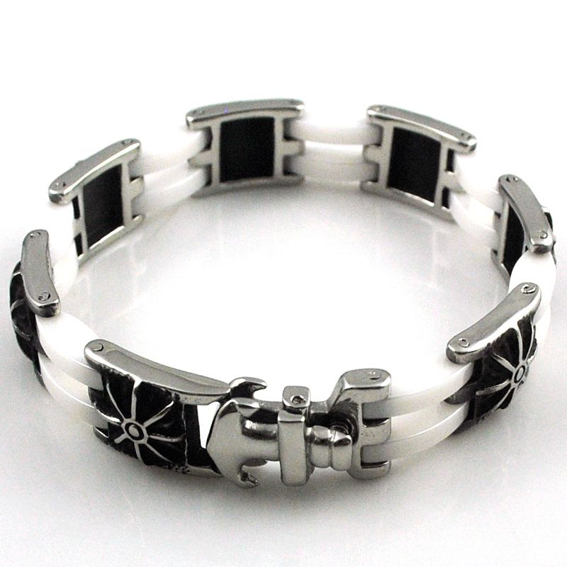 Fashion Men Sliver&Black Stainless Steel Bracelet Retro Classical Double White Ceramic Sun Jewelry 2016 Hot Selling  AB1370