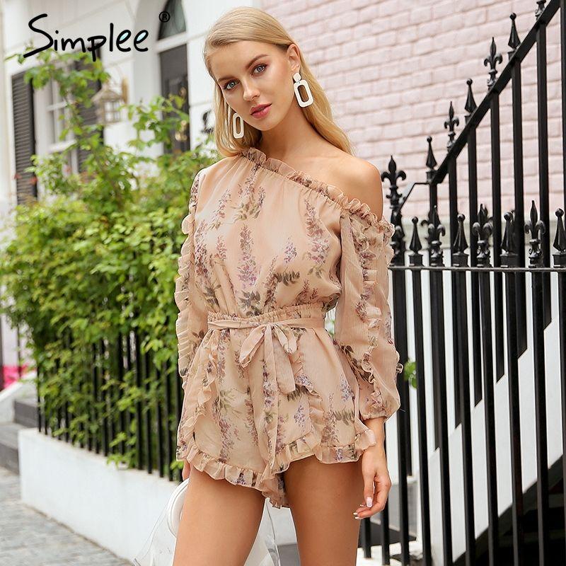 Simplee Ruffle off shoulder print jumpsuit women Elegant sash long sleeve sexy jumpsuit 2018 New casual summer jumpsuit romper