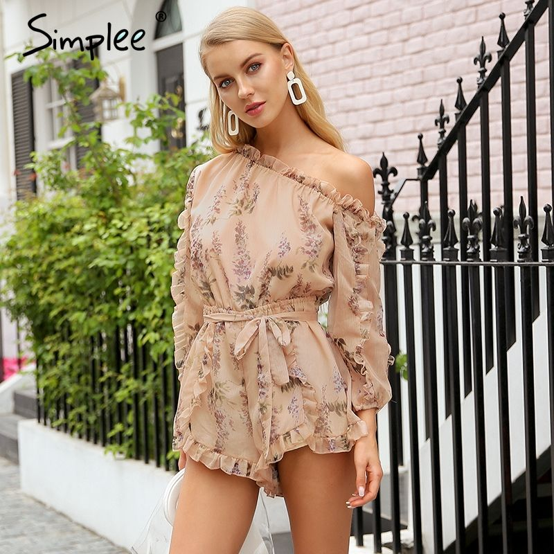 Simplee Ruffle off shoulder print jumpsuit women Elegant sash long sleeve sexy jumpsuit 2018 New casual summer jumpsuit romper